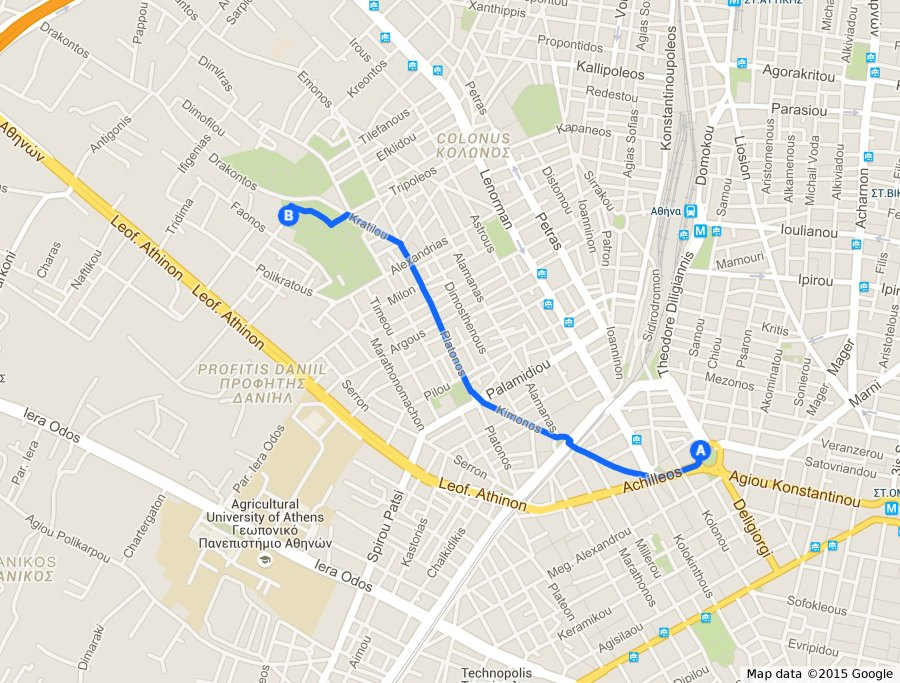 Fig. 3: Walking route from the closest metro station to Plato's Academy