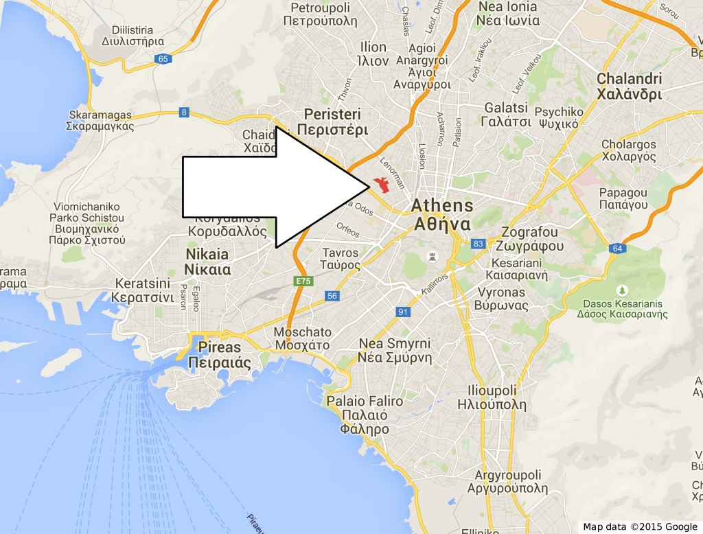 Fig. 1: Location of the archaeological site of Plato's Academy in Athens
