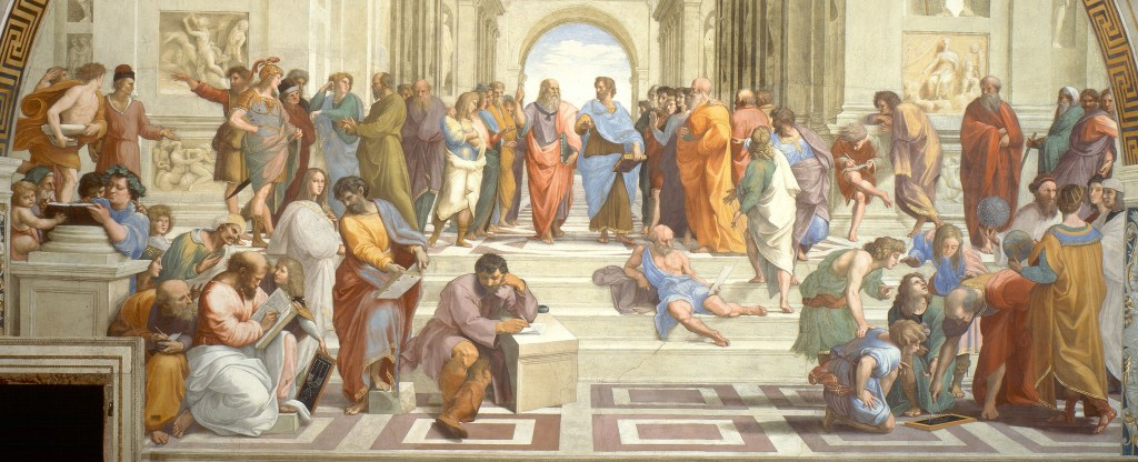 Detail from The School of Athens by Raphael, with Plato & Aristotle at the center
