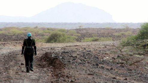 "Khukie walking on the ""road"""