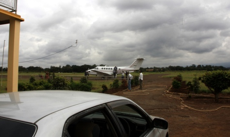 The jet arrives at a small airport near Moshi