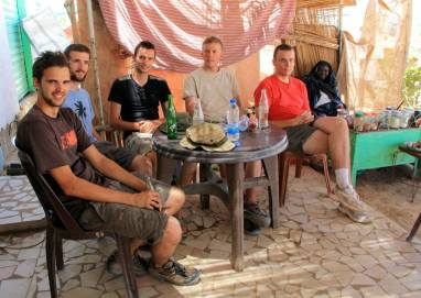 With a group of British adventurers we met on the way