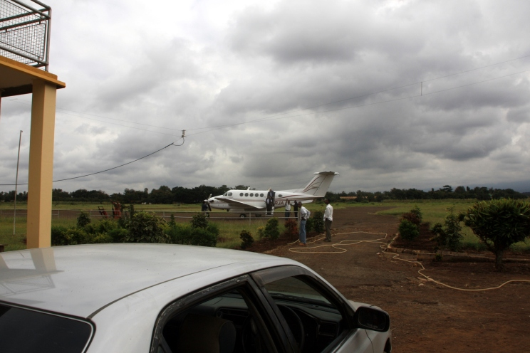 Getting picked up by an ambulance jet in Tanzania