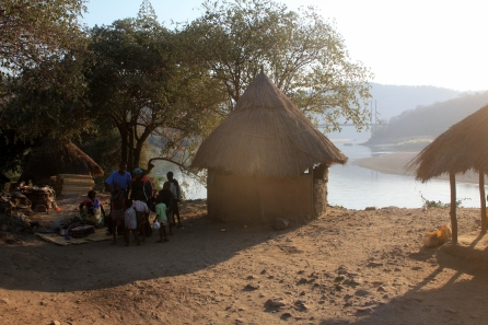 Huts near the Luangwa Bridge