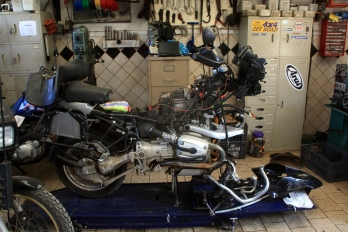 My motorcycle being repaired at Jungle Junction in Nairobi
