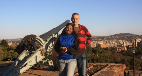 In front of the Union Buildings in Pretoria