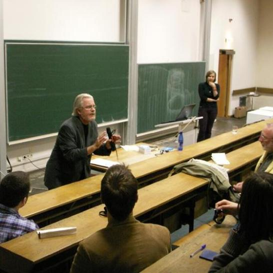 Tom Regan talking about the philosophy of animal rights at the University of Heidelberg in Germany on May 24, 2006