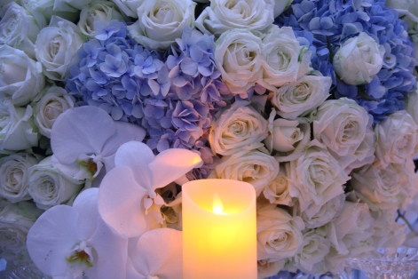 Candle with flowers at a Malaysian wedding