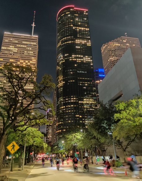 Cycling in Downtown Houston at night, Houston, Texas, USA